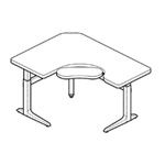 WorkRite Sierra Offset Corner Right, Keyboard Cutout Electric Table